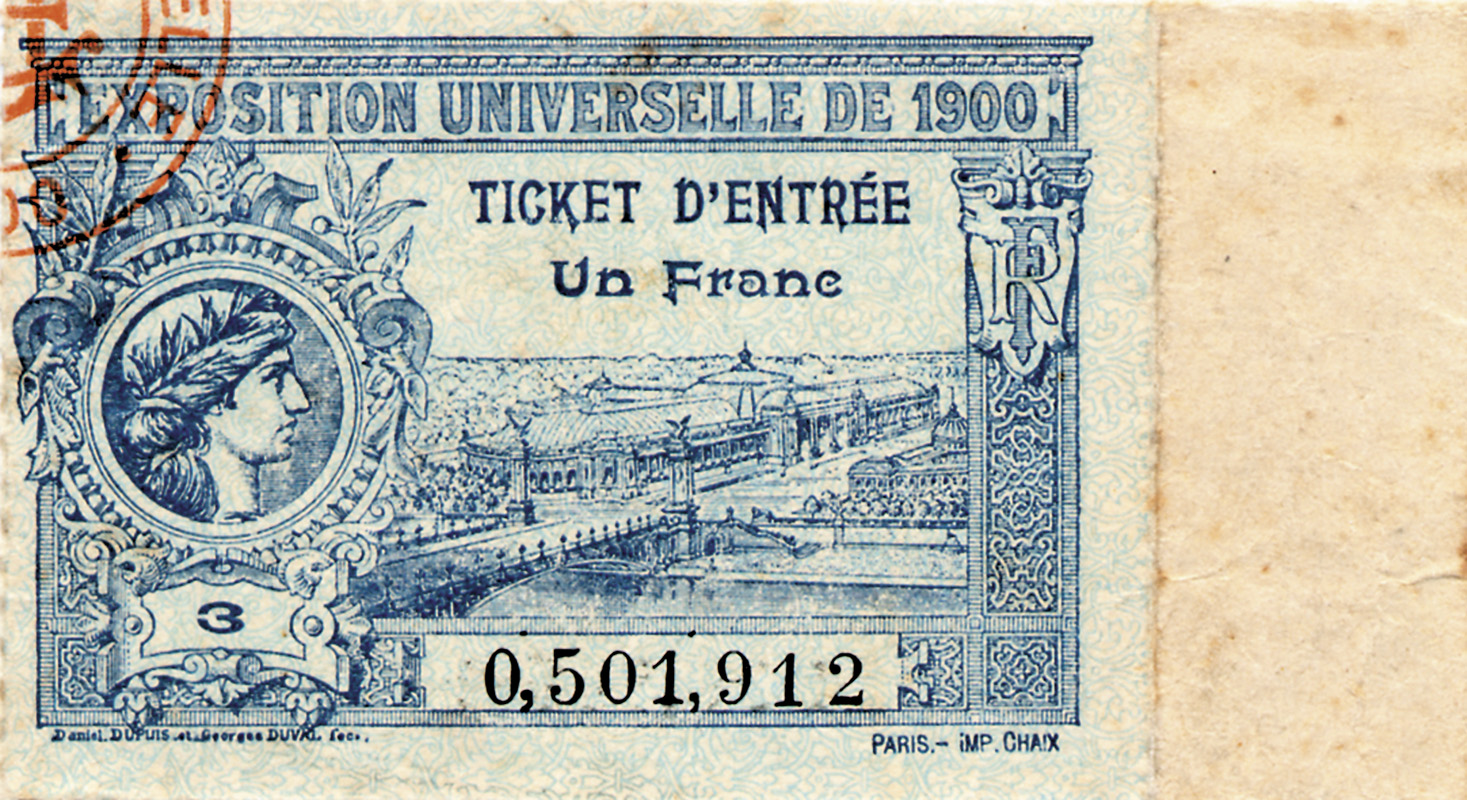 Ticket to the 1900 Olympic Games and Exposition Universelle