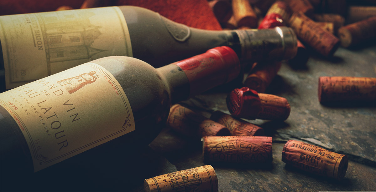 Bottles of Bordeaux with cork stoppers