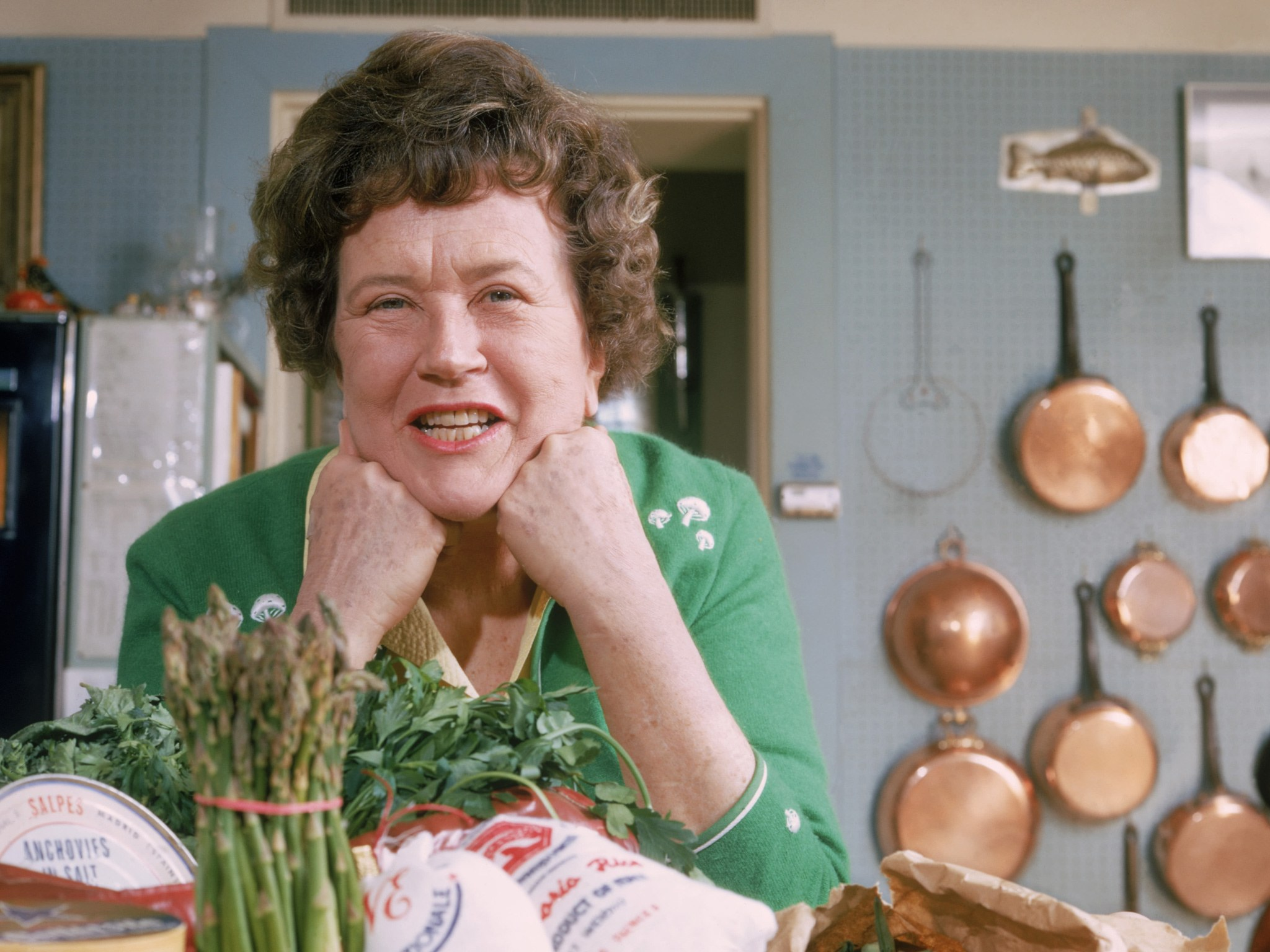 Julia Child at home in her Cambridge, MA kitchen